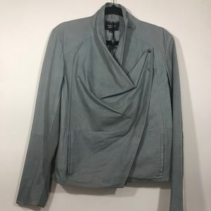 LAMARQUE Frances Draped Grey Leather Jacket